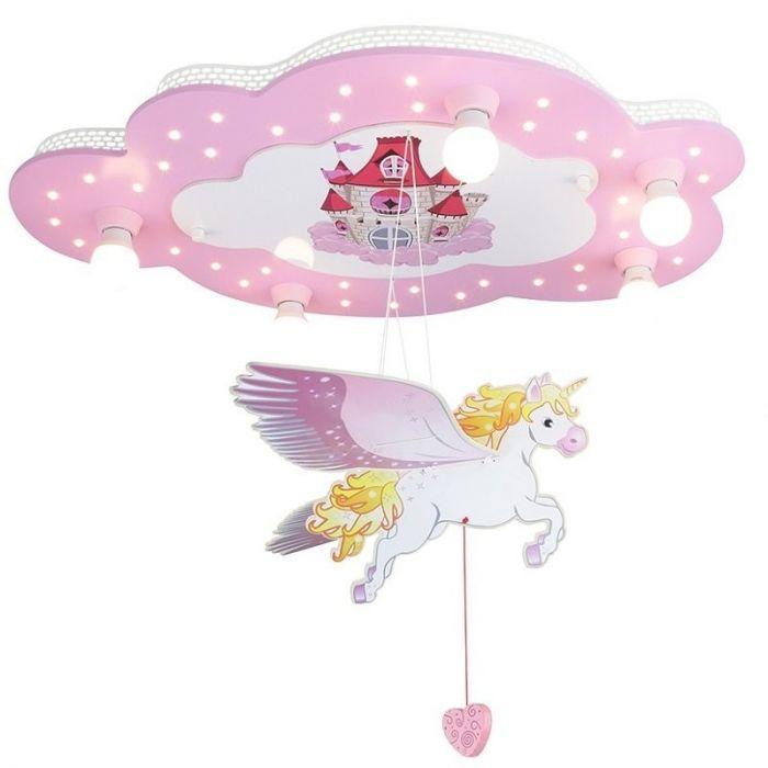 Plafondlamp wolk Eenhorn roze