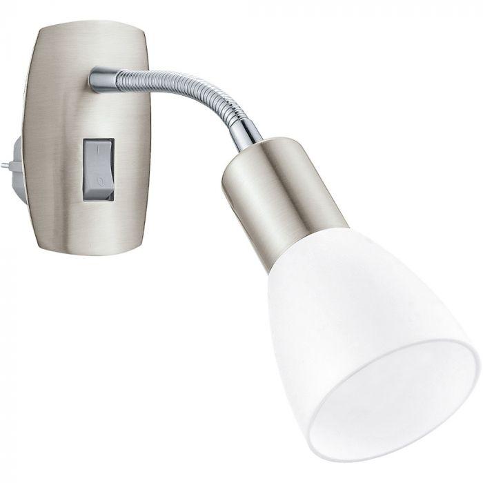 Eglo Dakar 3 plug wandlamp Basic 92935 nikkel wit