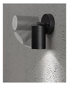 De Modena is een zwarte aluminium wandlamp met transparant glas. Het armatuur is 10,5cm hoog en voorzien van een GU10 fitting.